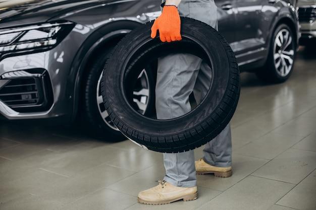Meccanico che cambia le gomme in un servizio di auto