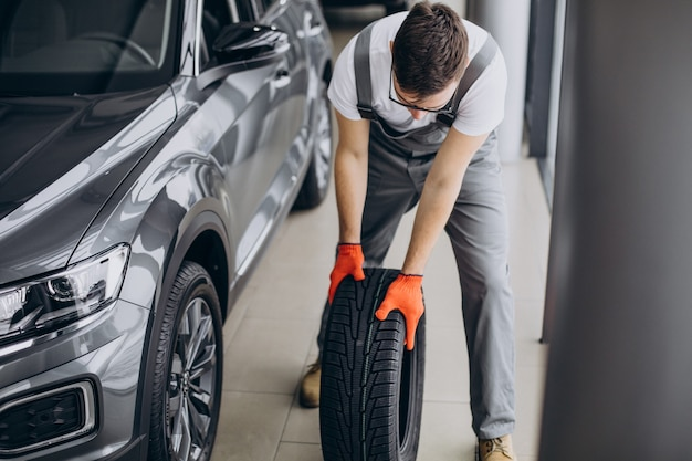 Mechanic changing tires in a car service