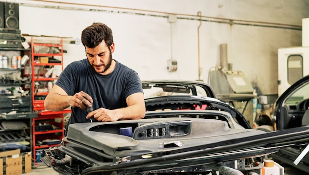 A mechanic working