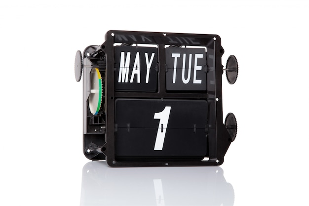 Mechanical calendar retro date 1 may, on isolated labour day.