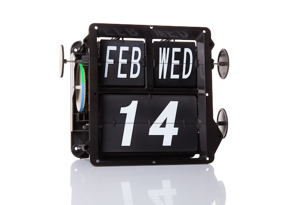 The mechanical calendar retro date 14 february, isolated alentine's day.