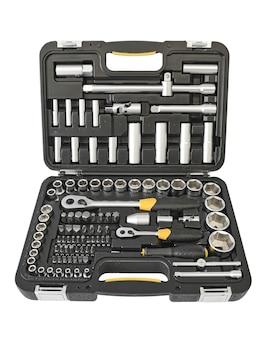 기계 손 도구 키트 흰색 배경에 고립입니다. 정비사 도구 상자.