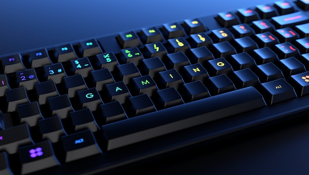 Mechanical keyboard with the word gaming illuminated on the keys. gamer keyboard banner.