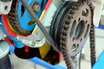 Mechanism gear with chain, chain and cogwheel in machine system