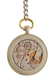체인에 오래 된 회중 시계의 메커니즘