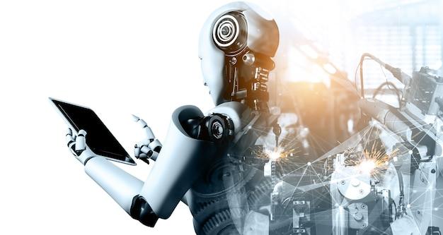 미래 공장의 기계화 산업 사이보그 로봇 및 로봇 팔