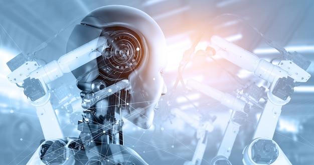 将来の工場における機械化された産業サイボーグロボットとロボットアーム