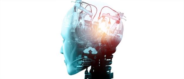 미래 공장의 기계화된 산업 사이보그 로봇과 로봇 팔