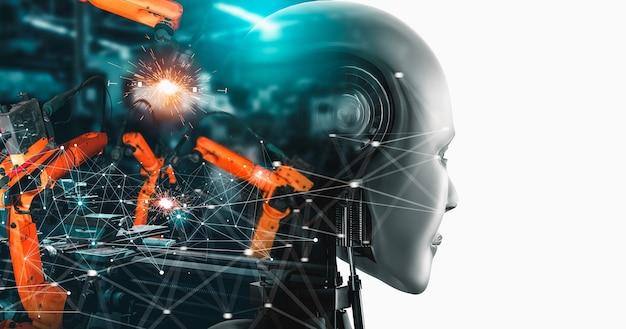 Робот-киборг и роботизированное оружие на заводе будущего