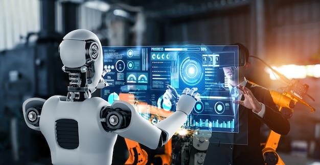 Робот механизированной промышленности и человек-рабочий работают вместе на заводе будущего
