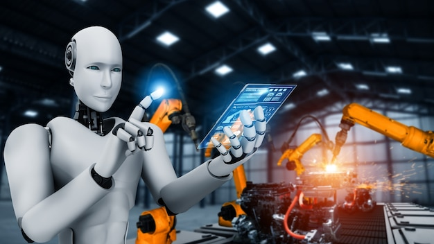 공장 생산시 조립을위한 기계화 산업 로봇 및 로봇 팔.