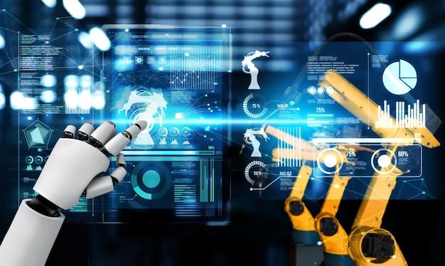 Механизированный промышленный робот и роботизированные манипуляторы для сборки в заводском производстве.