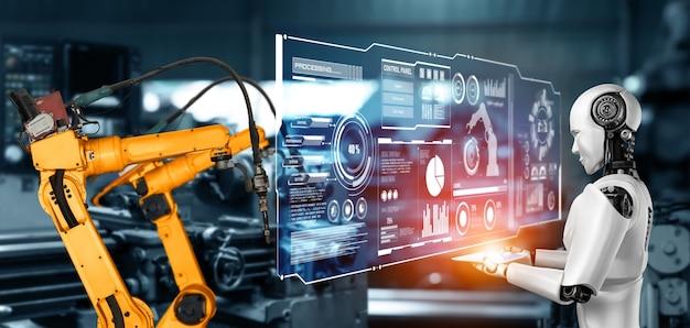 Робот механизированной промышленности и роботизированные манипуляторы для сборки в заводском производстве.
