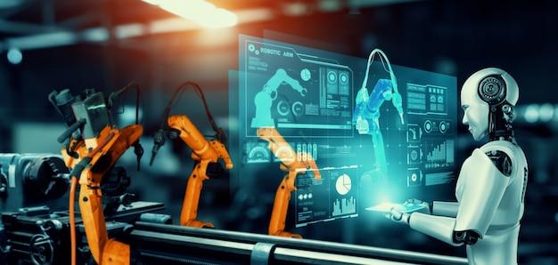 공장 생산에서 조립을 위한 기계화된 산업용 로봇 및 로봇 팔.