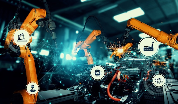 Mechanized industry robot arm for assembly in factory production line