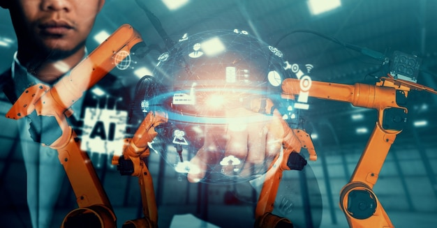Mechanized industry robot arm and factory worker double exposure