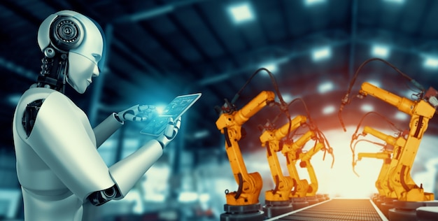 Mechanized industry robot and robotic arms for assembly in factory production .