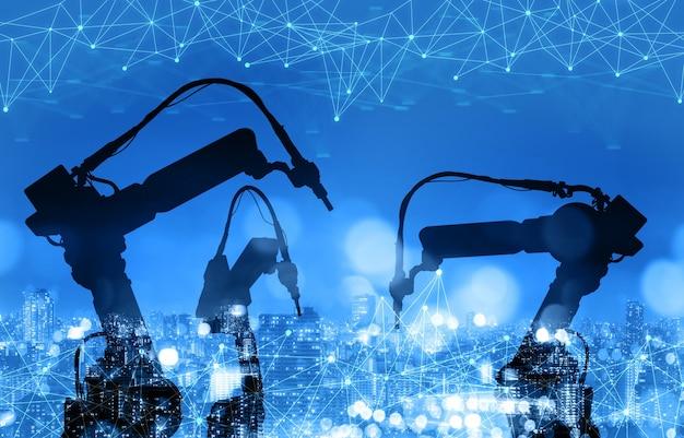 미래 공장의 기계화 산업 로봇 팔