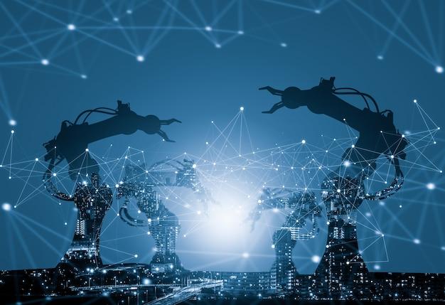 미래 공장의 기계화된 산업 로봇 팔