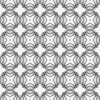 メダリオンシームレスパターン。黒と白のかわいい自由奔放に生きるシックな夏のデザイン。水彩メダリオンシームレスボーダー。テキスタイルレディの魅惑的なプリント、水着生地、壁紙、ラッピング。