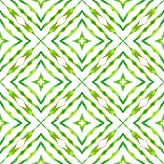 メダリオンシームレスパターン。グリーン実際の自由奔放に生きるシックな夏のデザイン。テキスタイルレディパーフェクトプリント、水着生地、壁紙、ラッピング。水彩メダリオンシームレスボーダー。