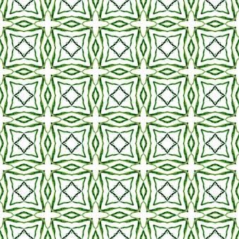 メダリオンシームレスパターン。緑の優雅な自由奔放に生きるシックな夏のデザイン。水彩メダリオンシームレスボーダー。テキスタイルレディプリティプリント、水着生地、壁紙、ラッピング。