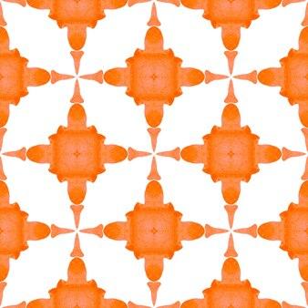 메달리온 완벽 한 패턴입니다. 오렌지 눈부신 보헤미안 시크한 여름 디자인. 수채화 메달 원활한 테두리입니다. 섬유 준비 훌륭한 인쇄, 수영복 직물, 벽지, 포장.