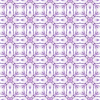 Medallion seamless pattern. purple symmetrical boho chic summer design. watercolor medallion seamless border. textile ready shapely print, swimwear fabric, wallpaper, wrapping.