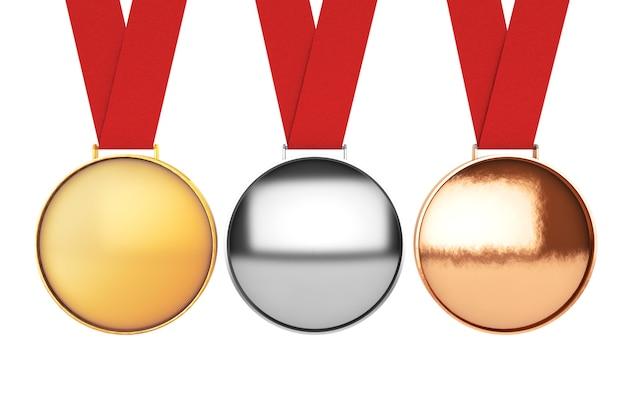 메달 세트입니다. 흰색 바탕에 금, 은, 동메달. 3d 렌더링
