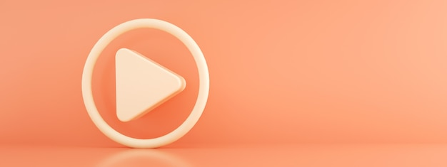 Media icon over pink background, play 3d render, panoramic image