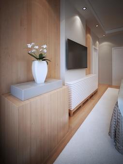 침실에 tv가있는 미디어 월 디자인.