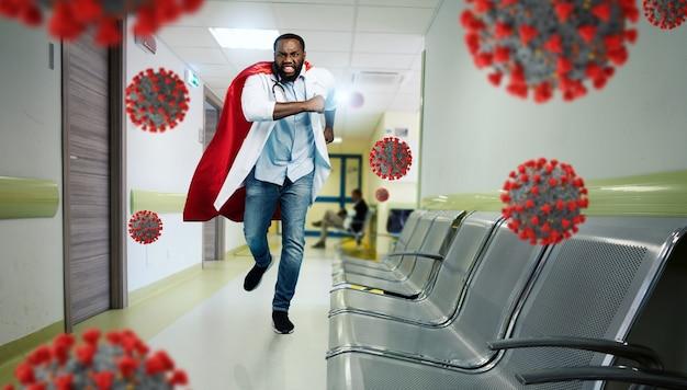 메딕은 코로나 19 코로나 바이러스의 전염병과 싸우기 위해 병원에서 슈퍼 히어로 역할을합니다