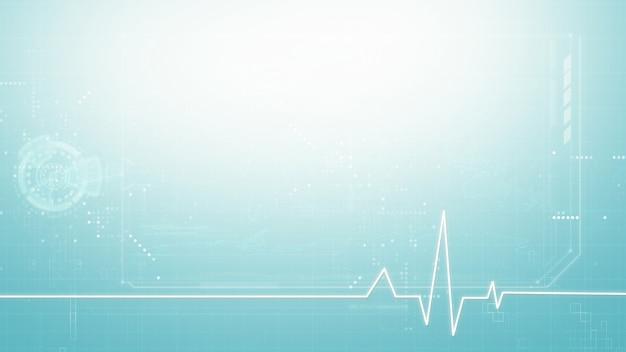 의료 추상적인 배경, 블루 톤의 복사 공간이 있는 의료 디지털 기호 그래픽 배경