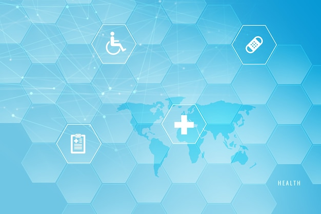 健康アイコンの背景と医療の抽象的な背景