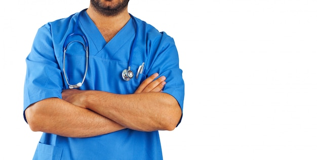 Medical assistant with stethoscope .