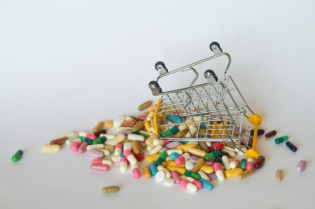 Medical background or concept. close-up of a inverted shopping trolley filled with colorful pills. cart from the supermarket with different medicines.