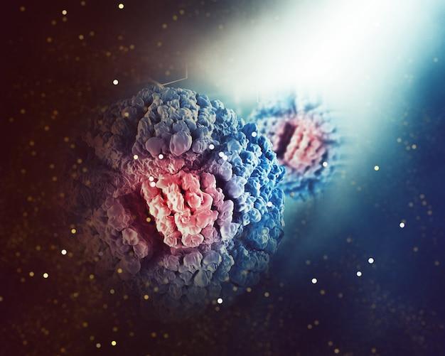 Sfondo medico con cellula virale astratta