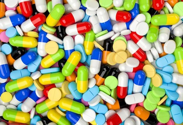 カラフルな錠剤やカプセルと医学的背景。リアルな3dレンダリング