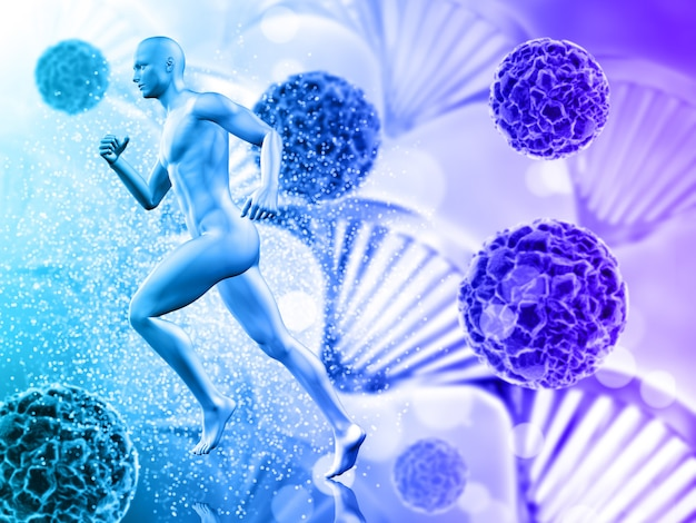 Medical background with male figure running on virus cells