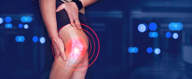 Medical banner digital bone on the human foot man suffering from knee pain