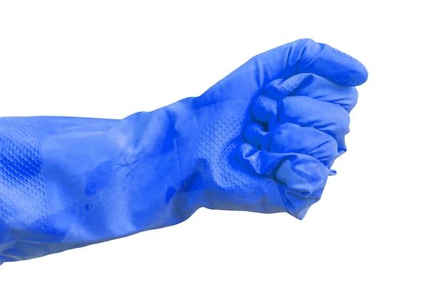 Медицинская синяя резиновая перчатка в жесте сжимающего кулака, изолированном на белом фоне фото