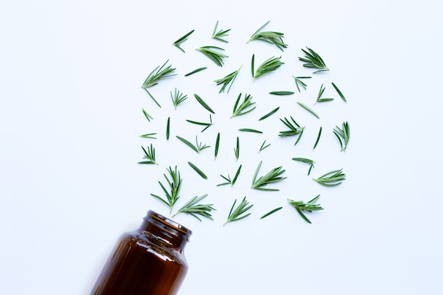 Medical bottle glass with fresh rosemary leaves on white