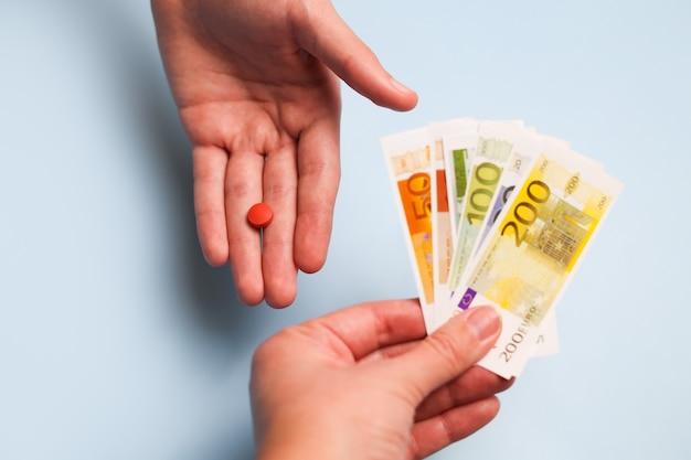 医療ビジネスまたは価格設定の概念。製薬業界での収益または高い医療費。