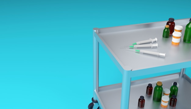 Тележка медицинского шкафа с медицинскими шприцами, флягами и банками крупным планом 3d иллюстрации
