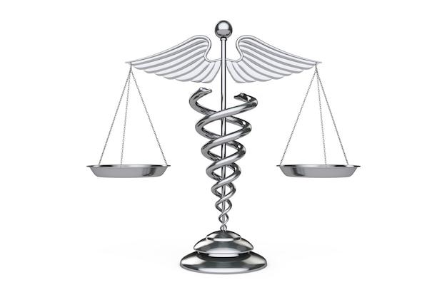 白い背景の上の鱗としての医療カドゥケウスのシンボル。 3dレンダリング