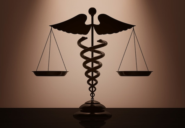 Medical caduceus symbol as scales with backlight over wall in dark room. 3d rendering