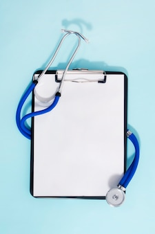Medical clipboard and a stethoscope