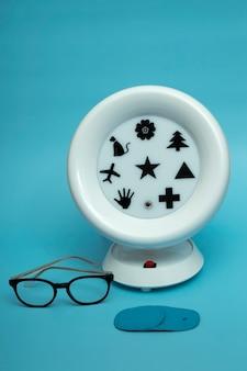 Medical concept ambliopanorama is a retinal stimulation trainer. glasses