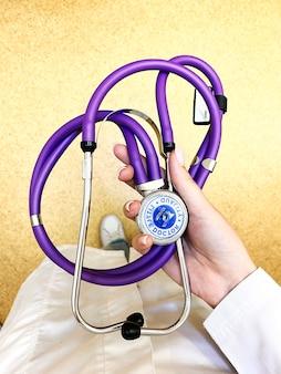 医療の概念。病院や診療所で聴診器を備えた白衣の形をした医師。