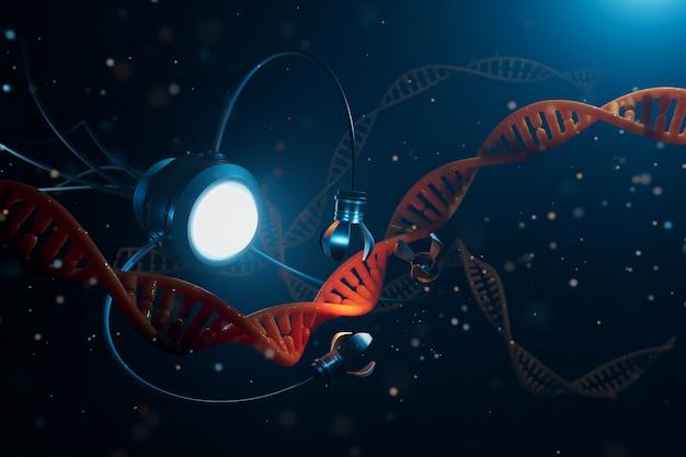 나노 기술 분야의 의료 개념. 유전자 공학과 나노 로봇을 사용하여 dna 분자의 일부를 대체합니다. 3d 그림.